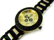 "Black on Gold ""Royal"" 4 Row Bezel Watch with silicone band (Clear-Coated Bezel)"