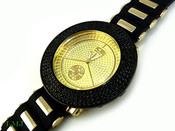 "Black on Gold ""Removable 4 Row Bezel"" Watch with silicone band (Clear-Coated Bezel)"