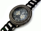 "Gunmetal Black and White ""Removable 4 Row Bezel"" Watch with silicone band (Clear-Coated Bezel)"