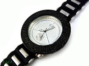 "Black w/White face ""Removable 4 Row Bezel"" Watch with silicone band (Clear-Coated Bezel)"