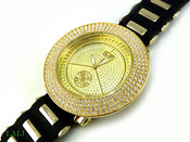 "White on Gold ""Removable 4 Row Bezel"" Watch with silicone band (Clear-Coated Bezel)"