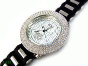 "White ""Removable 4 Row Bezel"" Watch with silicone band (Clear-Coated Bezel)"
