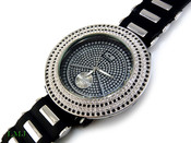 "Black and White ""Removable 4 Row Bezel"" Watch with silicone band (Clear-Coated Bezel)"