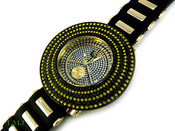 "Black and Yellow ""Removable 6 Row Bezel"" Watch with silicone band (Clear-Coated Bezel)"