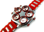 "Red and White ""Five on It"" 5 Time Zone Watch with silicone band (Clear-Coated Case)"