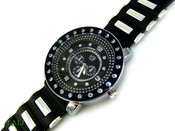 "Black and White ""4 Level"" Watch with silicone band (Clear-Coated Bezel)"