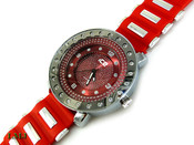 "Red and White ""4 Level"" Watch with silicone band (Clear-Coated Bezel)"