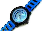 "Blue and Black ""4 Level"" Watch with silicone band (Clear-Coated Bezel)"