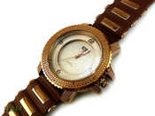 "Chocolate Brown ""3 Level"" Watch with silicone band (Clear-Coated Bezel)"