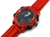 "Red and Black ""Executive"" Watch with silicone band (Clear-Coated Bezel)"