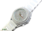 "White on White ""Super Fully Loaded Classic"" Watch with silicone band (Clear-Coated Bezel)"