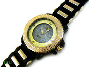 "Black and Gold ""3 Level"" Watch with silicone band (Clear-Coated Bezel)"