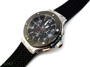 """Black and White """"Hublot Inspired"""" Watch with rubber band + deployment clasp (Clear-Coated Bezel)"""