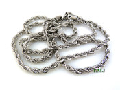 "30"" Stainless Steel Silver Tone Rope Chain - 3mm"