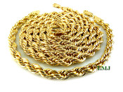 "Gold Plated Rope 8.25"" Bracelet + 30"" Rope Chain combo- 6mm (Clear-Coated)"