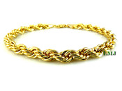 "Gold Plated Rope 8.25"" Bracelet - 6mm (Clear-Coated)"
