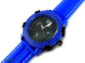 "Blue and Black ""Executive"" Watch with silicone band (Clear-Coated Bezel)"