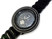 "Black and White on Black ""Removable 4 Row Bezel"" Watch with silicone band (Clear-Coated Bezel)"