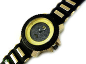 "Black and Gold #2 ""3 Level"" Watch with silicone band (Clear-Coated Bezel)"