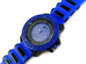 "Blue and Black ""3 Level"" Watch with silicone band (Clear-Coated Bezel)"