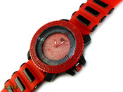 "Red and Black ""3 Level"" Watch with silicone band (Clear-Coated Bezel)"