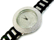 "White ""Fully Loaded Removable 4 Row Bezel"" Watch with silicone band (Clear-Coated Bezel)"