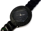 "Black ""Fully Loaded Removable 4 Row Bezel"" Watch with silicone band (Clear-Coated Bezel)"