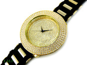 "White on Gold ""Fully Loaded Removable 4 Row Bezel"" Watch with silicone band (Clear-Coated Bezel)"