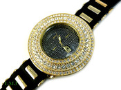 "White on Gold/Black Face ""Breitling inspired 3 Row Bezel"" Watch with silicone band (Clear-Coated Bezel)"
