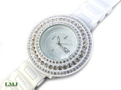 "White on White ""Breitling inspired 3 Row Bezel"" Watch with silicone band (Clear-Coated Bezel)"