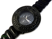"Black ""Breitling inspired 3 Row Bezel"" Watch with silicone band (Clear-Coated Bezel)"