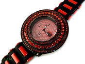 "Black and Blood Red ""Breitling inspired 3 Row Bezel"" Watch with silicone band (Clear-Coated Bezel)"