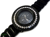 "Black and White ""Breitling inspired 3 Row Bezel"" Watch with silicone band (Clear-Coated Bezel)"