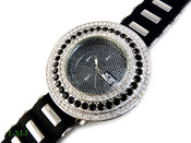 "White and Black ""Breitling inspired 3 Row Bezel"" Watch with silicone band (Clear-Coated Bezel)"