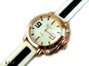 "White and Rose Gold ""Antique"" Watch with silicone band (Clear-Coated Case)"