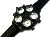 "All Black Iced ""Five on It"" 5 Time Zone Watch with silicone band  (Clear-Coated Case)"