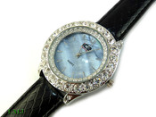 "White ""Boulder Bezel"" and Blue Pearl face Watch with leather band (Clear-Coated Bezel)"