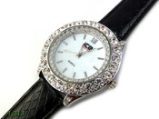 "White ""Boulder Bezel"" and White Pearl face Watch with leather band (Clear-Coated Bezel)"