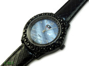 "Black ""Boulder Bezel"" and Blue Pearl face Watch with leather band (Clear-Coated Bezel)"