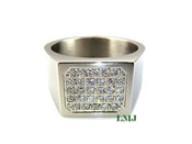 "White Stainless Steel Lab Made Diamond ""28"" Micro-Pave Ring"