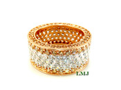 """Rose Champagne and White Lab Made Diamond """"Fully Loaded 360"""" Ring (Clear-Coated)"""
