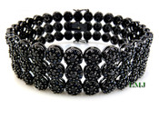 "3 Row Black Lab Made Diamond 8.5"" 3D Cluster Bracelet (Clear-Coated)"