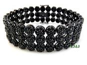 "3 Row Black Lab Made Diamond 8.5"" 3D Cluster Bracelet (Clear-Coated)"