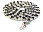 "1 Row 36"" White and Black Lab Made Diamond Tennis Chain (Clear-Coated)"