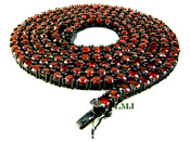 "1 Row 36"" Black and Blood Red Lab Made Diamond Tennis Chain (Clear-Coated)"