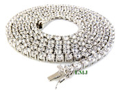 "1 Row 36"" White Lab Made Diamond Tennis Chain (Clear-Coated)"