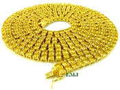 "2 Row 36"" Yellow Lemonade Lab Made Diamond Tennis Chain (Clear-Coated)"