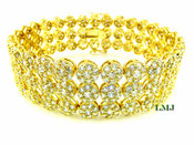 """3 Row Gold and White Lab Made Diamond 8.5"""" 3D Cluster Bracelet (Clear-Coated)"""