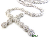 "White Lab Made Diamond Virgin Mary Rosary ""Cluster"" Chain (Clear-Coated)"