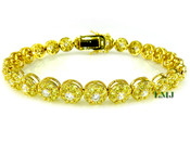 "1 Row Yellow and White Lab Made Diamond 8"" 3D Cluster Bracelet (Clear-Coated)"